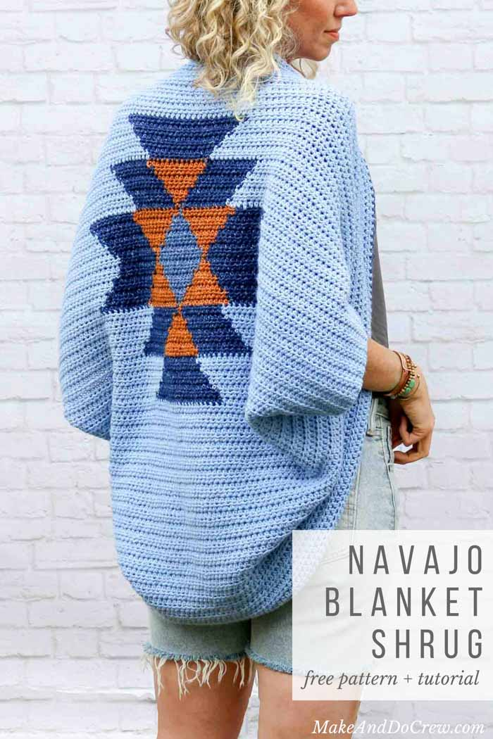 Southwestern style! This free crochet shrug pattern with an Aztec crochet design looks like tapestry crochet, but it's not! Free bohemian crochet pattern from MakeAndDoCrew.com.