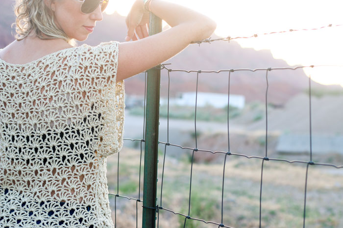 Pair the breezy Canyonlands boho crochet top with a bandeau or cami, a pair of well-worn jeans and a free spirit and you'll have yourself the perfect bohemian summer look! Free crochet pattern using LB Collection Cotton Bamboo yarn!
