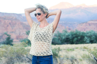 Pair the breezy Canyonlands boho crochet top with a bandeau or cami, a pair of well-worn jeans and a free spirit and you'll have yourself the perfect bohemian summer look! Free crochet pattern using the Open Fan crochet stitch made with LB Collection Cotton Bamboo yarn!