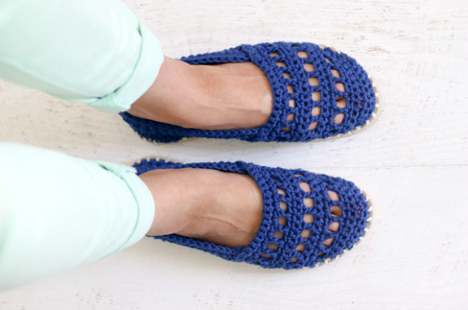 Seaside Slip-Ons: Crochet Shoes with Rubber Bottoms