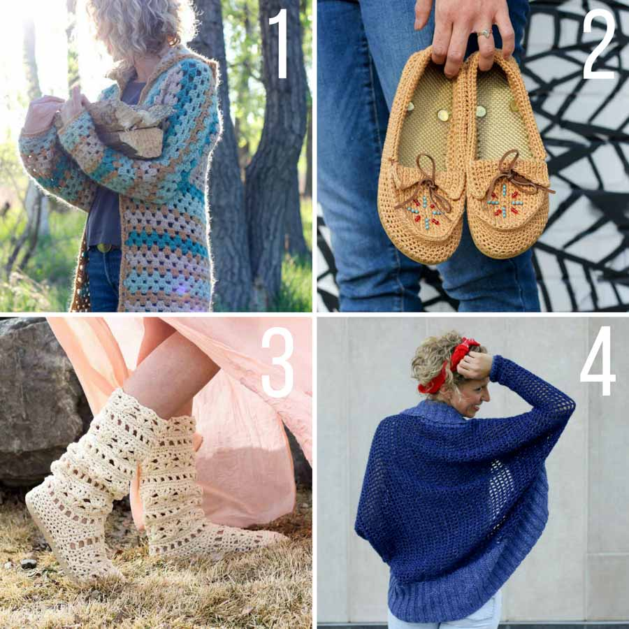 Free boho crochet patterns from Make & Do Crew including a crochet hexagon jacket, moccasins with flip flop soles, festival boots with flip flop soles and a beginner shrug.