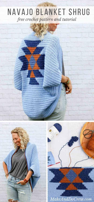 Free crochet shrug pattern navajo make do crew this free crochet shrug pattern with an navajo crochet design looks like tapestry bankloansurffo Gallery