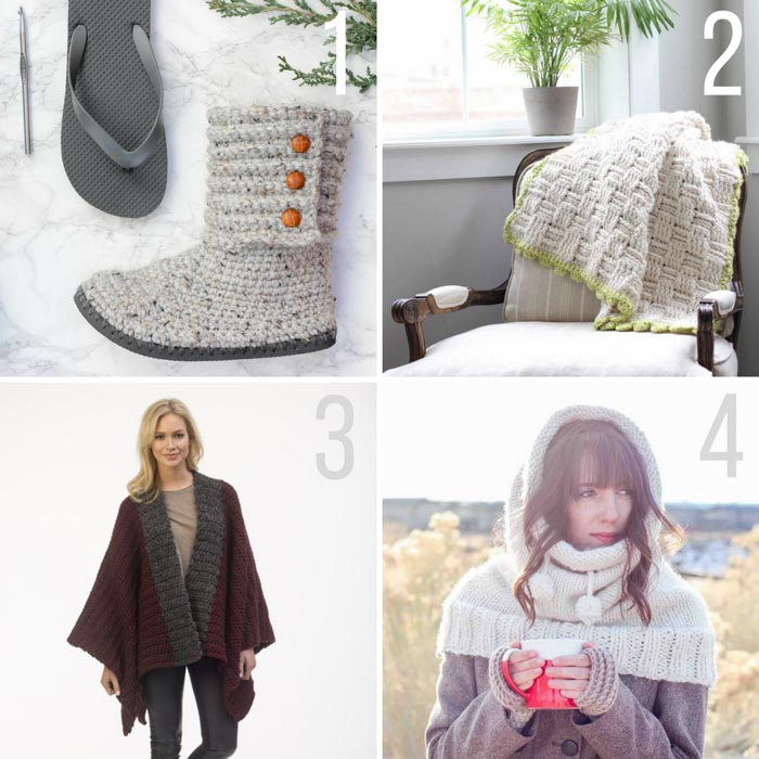 Free chunky crochet and knitting patterns featuring Lion Brand Wool Ease Thick & Quick. Crochet boots with flip flop soles, chunky crochet blanket, chunky knit poncho, knit hood pattern. #winteriscoming #wooliscoming