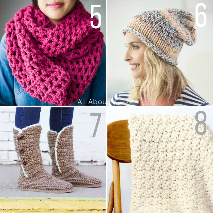 Free chunky crochet and knitting patterns featuring Lion Brand Wool Ease Thick & Quick. Chunky crochet cowl, chunky knit hat pattern, crochet UGG boots with flip flop soles, modern chunky crochet blanket. #winteriscoming #wooliscoming