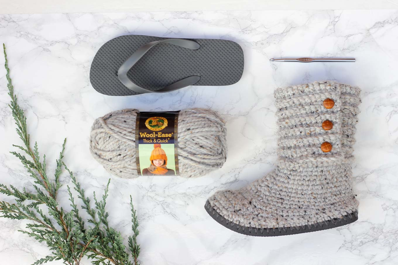Free chunky crochet and knitting patterns featuring Lion Brand Wool Ease Thick & Quick. Crochet boots with flip flop soles.