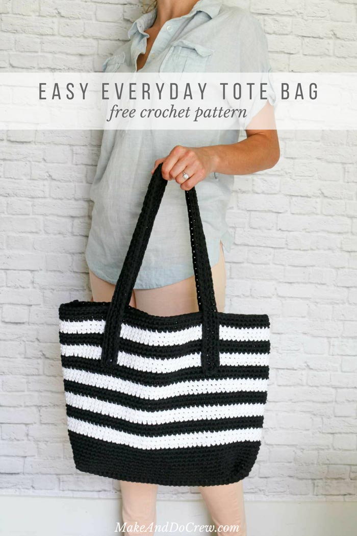Classic meets modern in this crochet tote bag free pattern. Made with very basic crochet techniques and Lion Brand Fast-Track yarn, this purse is a perfect pattern for a confident beginner.
