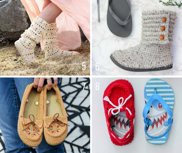Free crochet patterns that use flip flops to create a rubber sole. These DIY shoes are inexpensive and fun to make! All free patterns from Make & Do Crew.