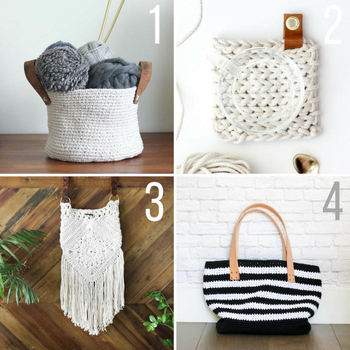 Free crochet patterns from Make and Do Crew including purses, handbags and baskets. Leather accents make these POP!