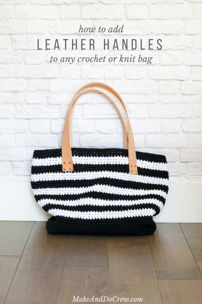 Stunning! This tutorial and free purse pattern shows how to add leather handles to a crochet bag. Love this style!