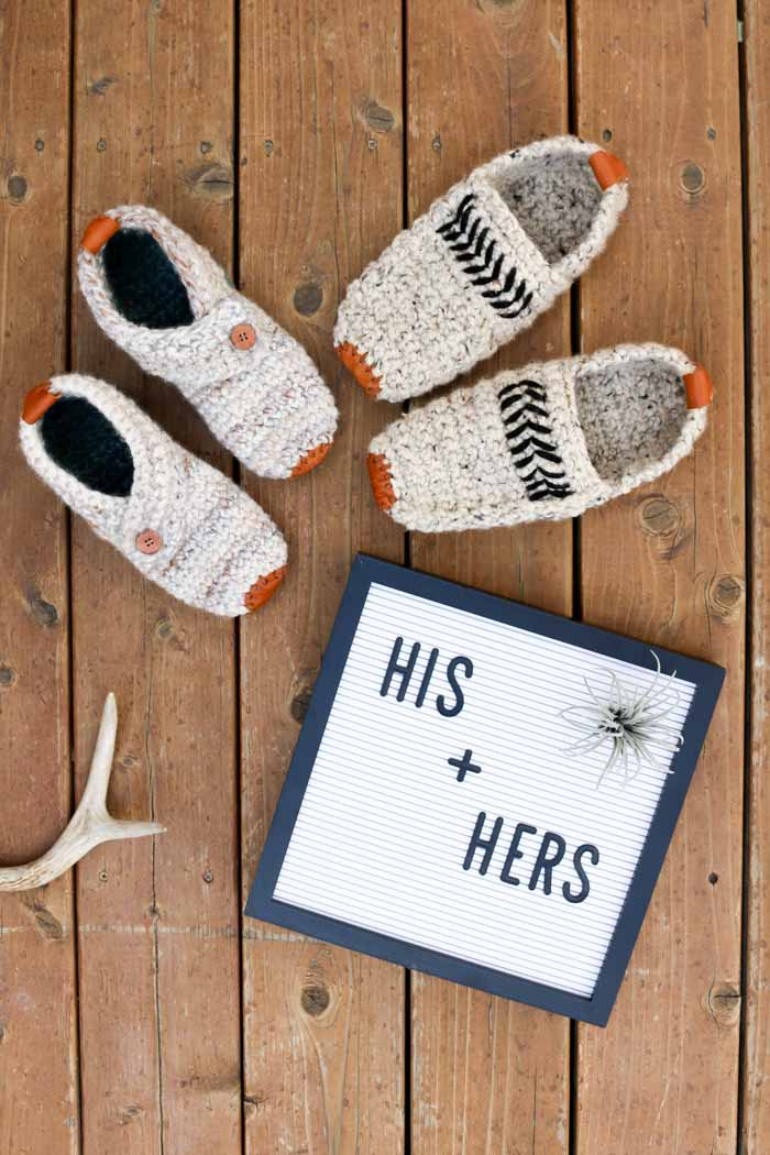 Cute! Free adult crochet slippers patterns for men and women. These would make a great DIY wedding or anniversary gift! Made with Lion Brand Wool-Ease Thick & Quick.