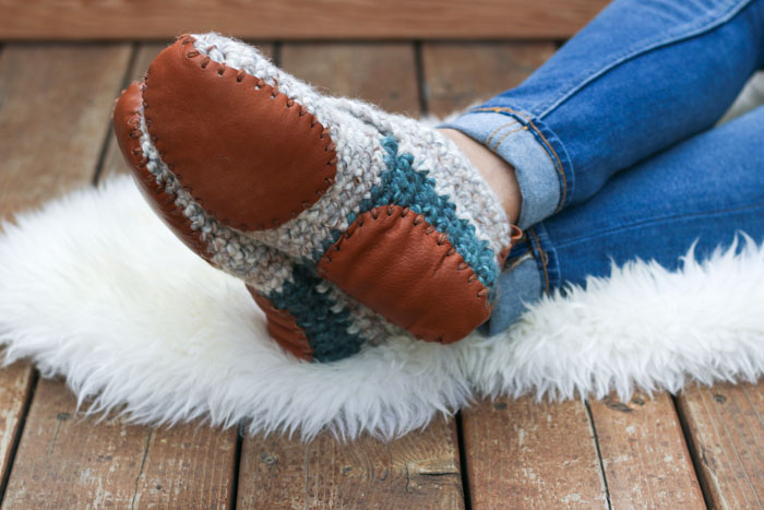How to add leather soles to crochet or knit slippers and house shoes.