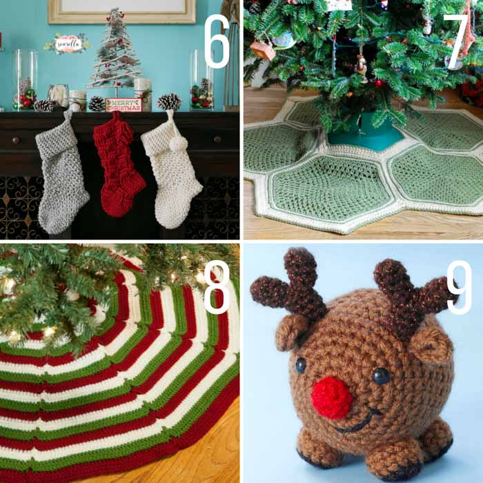 Free Christmas crochet patterns including a modern crochet stocking, Christmas tree skirts and a reindeer.