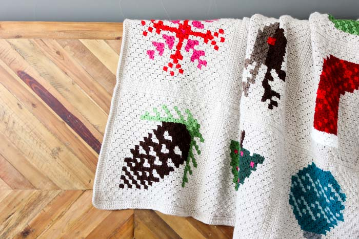 Modern crochet Christmas afghan pattern made using corner-to-corner (c2c). Free pattern from Make and Do Crew!
