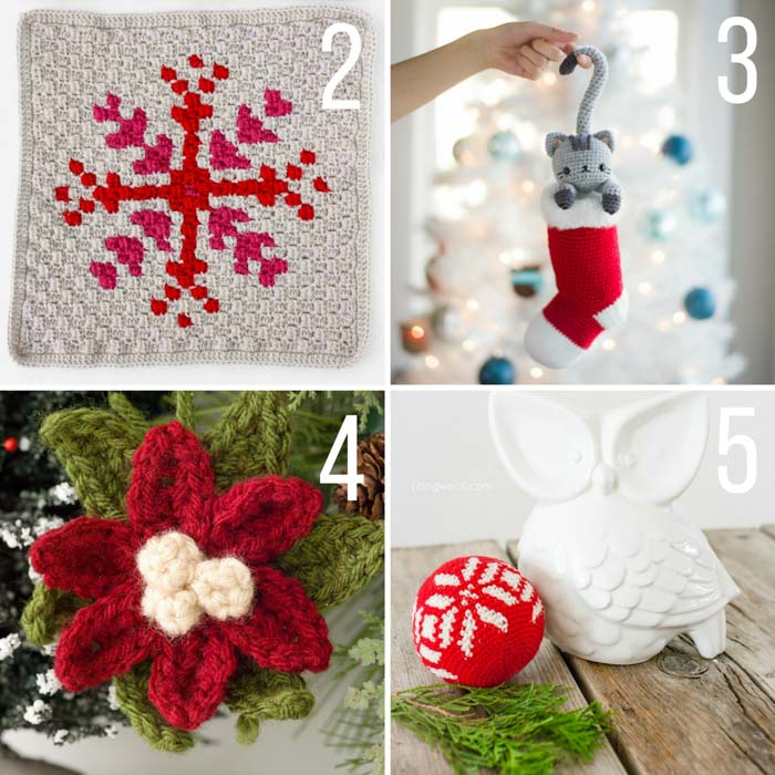 Free Christmas crochet patterns including a crochet poinsettia, crochet ornament, crochet c2c snowflake and a cat in a stocking.