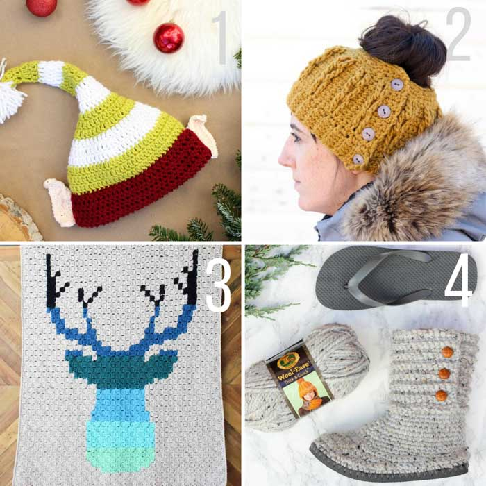 Free crochet patterns including a bun beanie hat, crochet Santa hat with ears, crochet boots with flip flop soles and a c2c deer afghan.