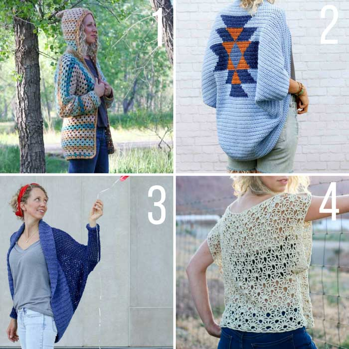 Free crochet patterns from Make and Do Crew. Lots of modern sweaters and shrugs!