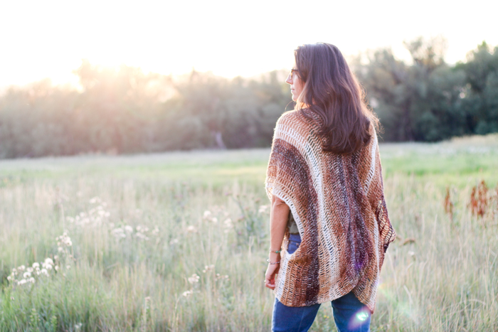 Very simple crochet shrug free pattern using Lion Brand Shawl in a Ball in Namaste Neutrals.