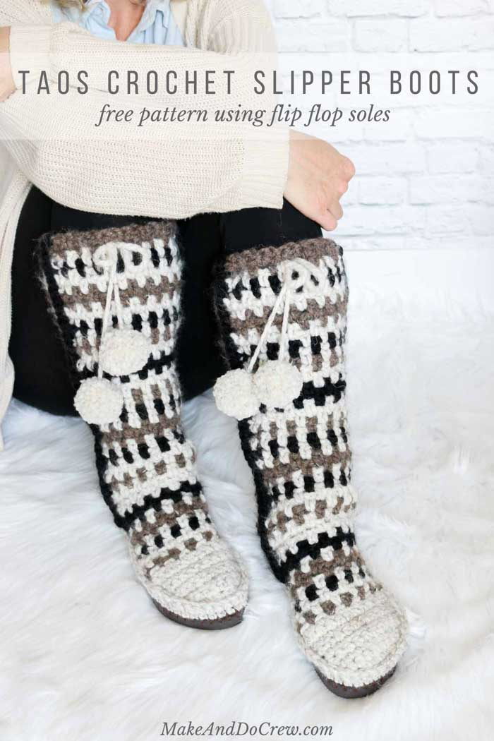 Mukluk Crochet Slipper Boots With Flip Flop Soles Free Pattern