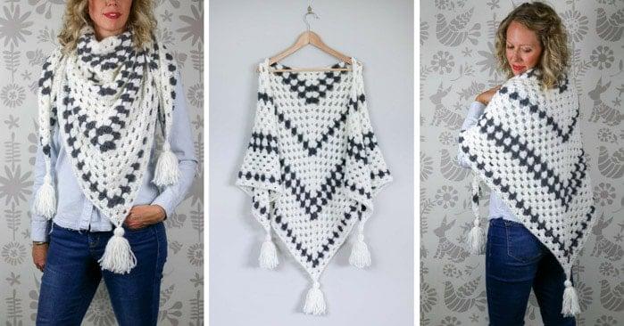 Crochet Granny Stitch Triangle Scarf Free Pattern 7 Make Do Crew
