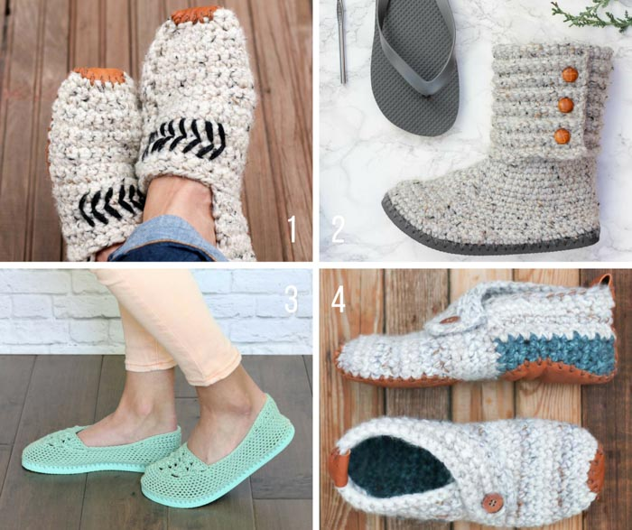 Free crochet slippers patterns from Make and Do Crew. Some of these use flip flops for soles and others have leather soles, but they're all cozy and make great crochet gifts!
