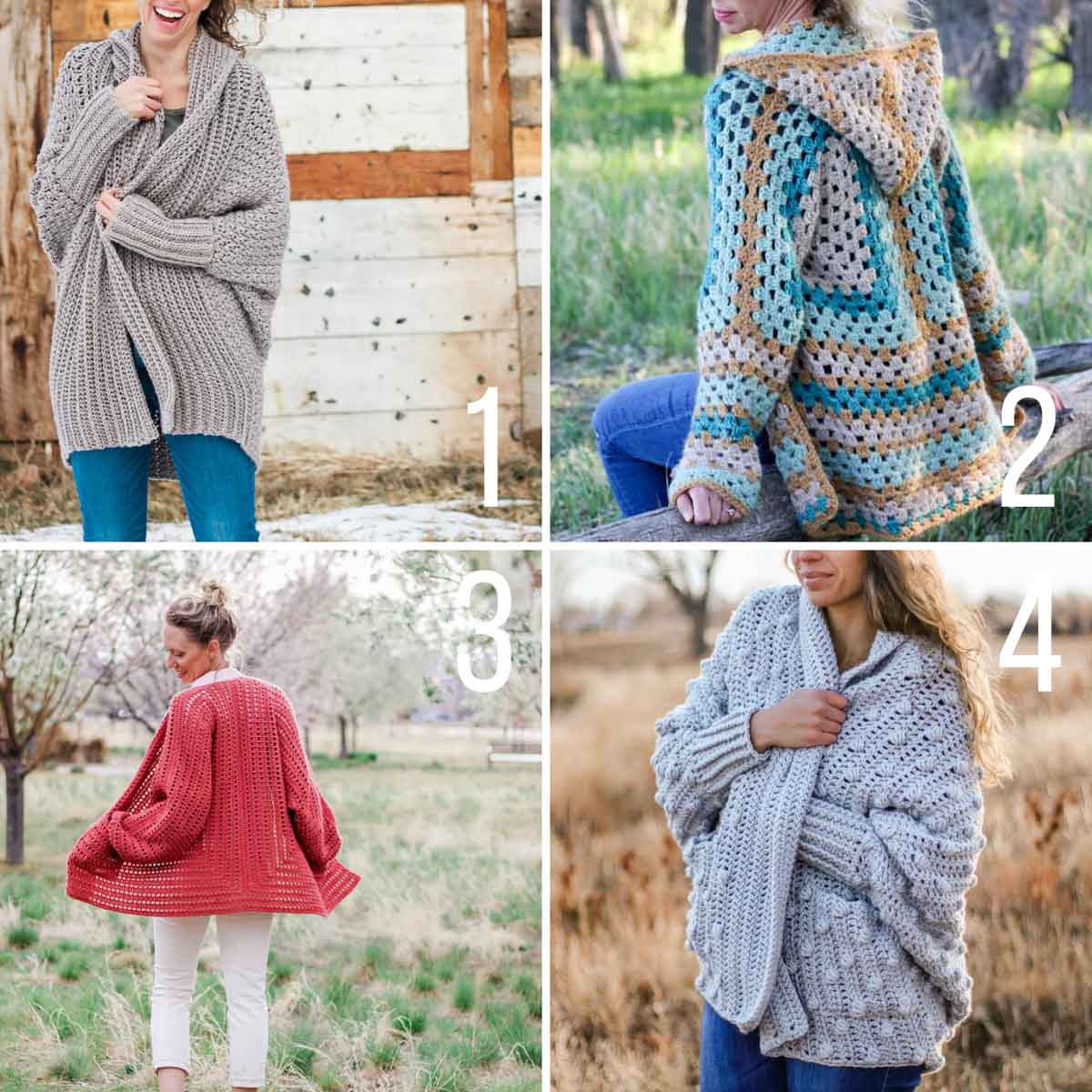 Four free crochet sweater patterns made from simple shapes with easy construction.