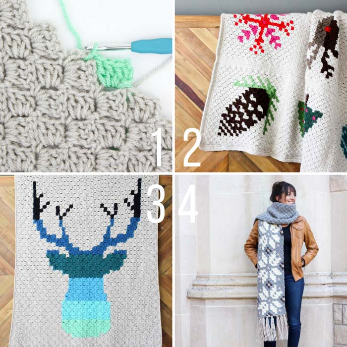 "Free corner to corner (c2c) crochet patterns from Make and Do Crew! The ""Be a Deer"" deer head c2c afghan, the nordic c2c snowflake scarf and the entire c2c Christmas afghan are all free crochet patterns!"