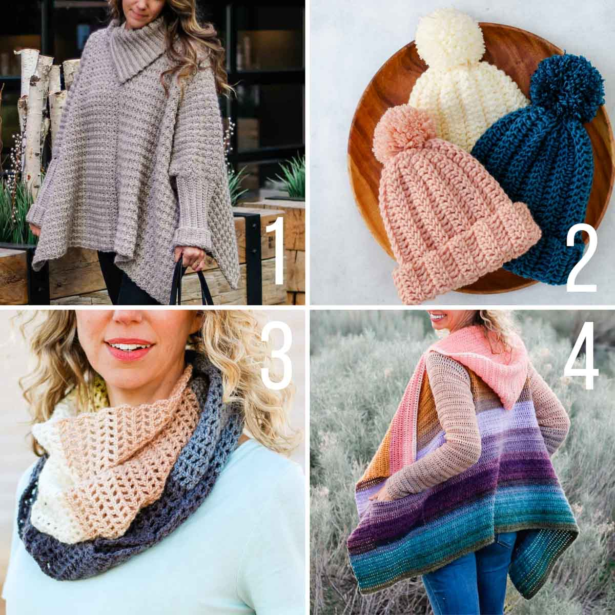 Four free crochet patterns for beginners, including a poncho with sleeve, a chunky beanie, a beautiful triangle scarf, and a hooded sweater.