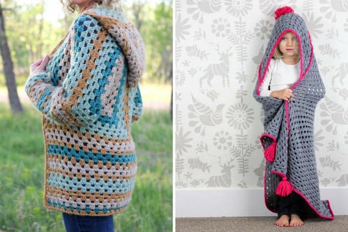 Free modern granny stitch crochet patterns.