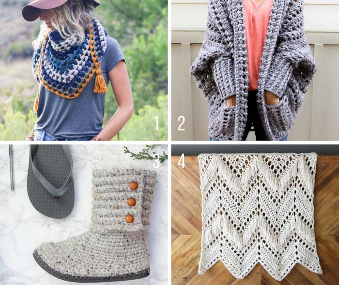 Free modern crochet patterns including the Dwell Sweater, the Revival Scarf, Cabin Boots with Flip Flop Soles and the Sedona Fringed Throw. All made with Lion Brand Yarn.