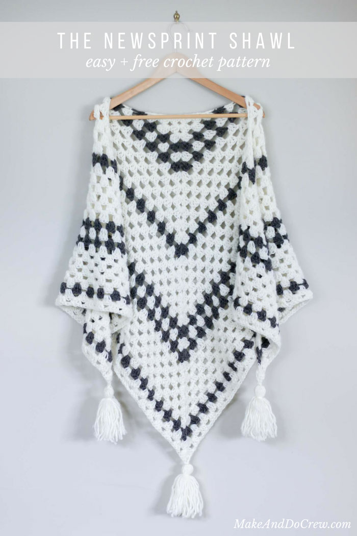 Newsprint Crochet Granny Stitch Shawl - free pattern from Make & Do Crew