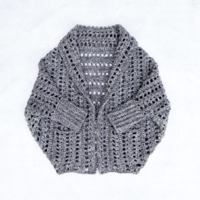 """This oversized crochet cardigan free pattern is easy to make with chunky Wool-Ease Tonal yarn in the color """"Smoke."""" Free pattern and step-by-step tutorial!"""
