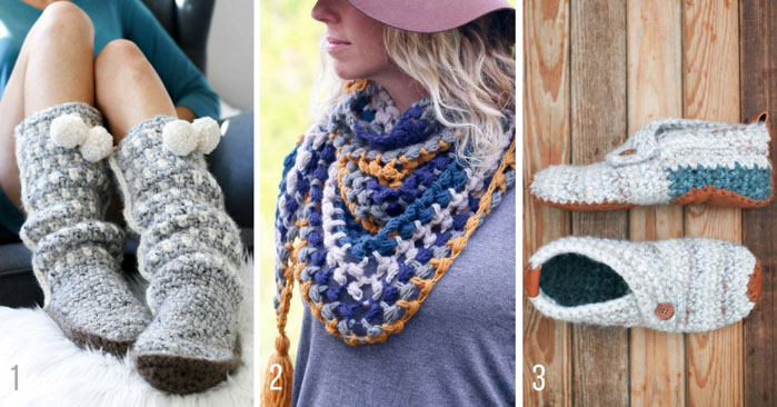Free modern crochet patterns from Make & Do Crew including the Sierra Slippers, The Revival Scarf and Sunday Slippers.