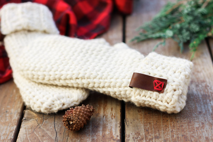How to add leather accents on crochet projects, including these crochet wool mittens.
