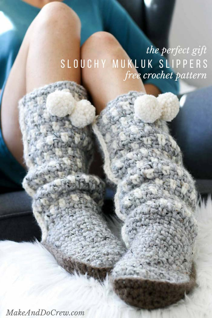 Crochet Mukluk Slippers Free Pattern Make Do Crew
