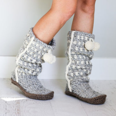 Slouchy crochet sweater boots. So modern and cozy! (Includes free crochet slipper soles pattern as well.)