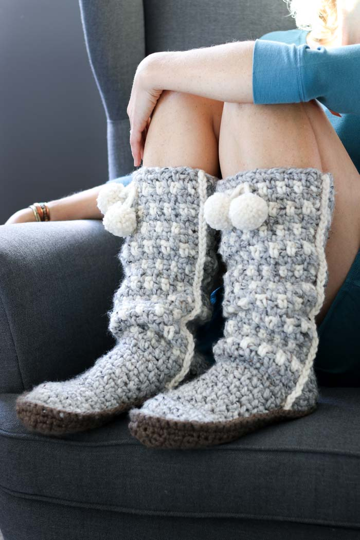 These slouchy Sierra crochet mukluk slippers are much easier than they look and the pattern is free!
