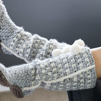 Slouchy crochet slippers. Free crochet pattern from Make and Do Crew.