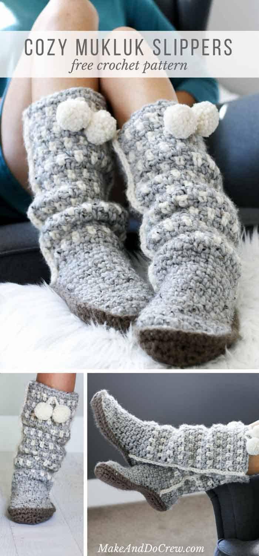 Easy Crochet Slippers Mukluks Free Pattern 32 Make Do Crew