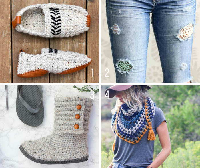 Free modern crochet patterns for slippers, crochet boots, a triangle scarf and crochet jeans patches from Make & Do Crew!