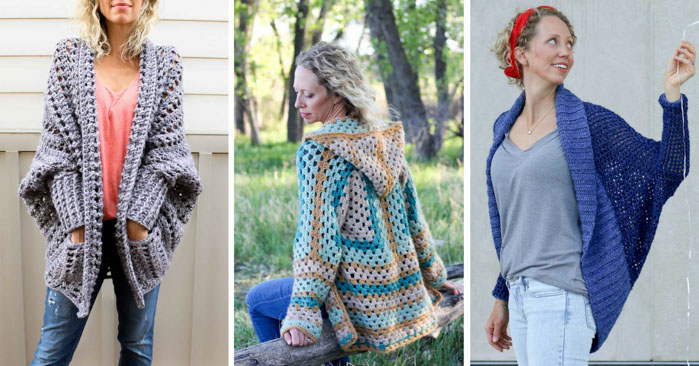 Free crochet sweater patterns that are perfect for layering in the fall, winter and spring. The Dwell Sweater, The Campfire Cardigan and The Stonewash Shrug - free patterns from Make & Do Crew!