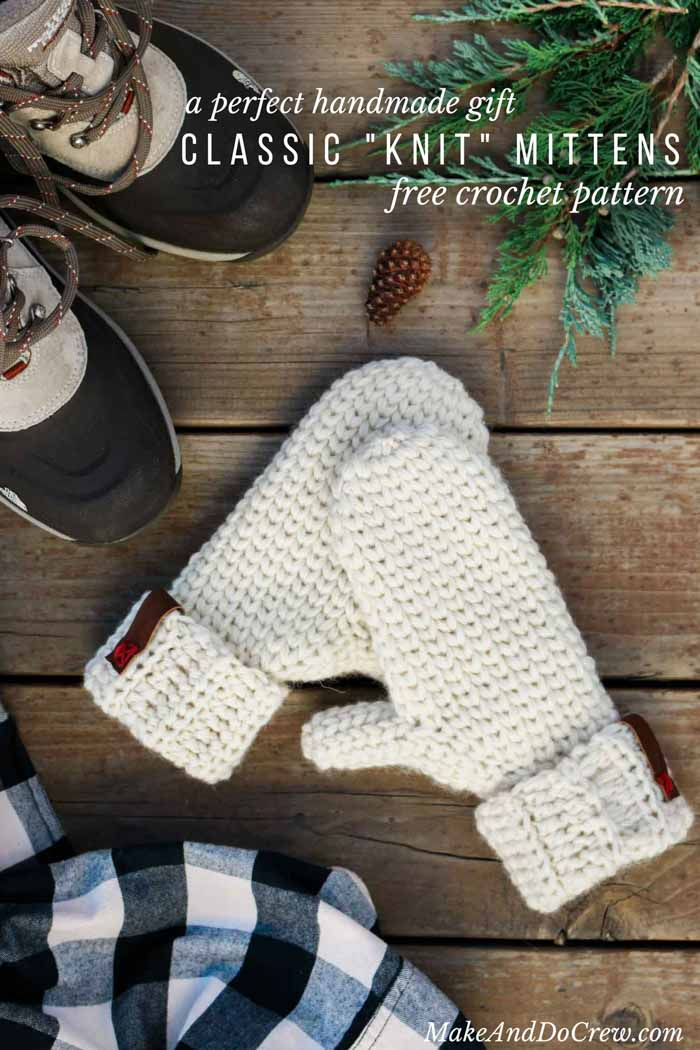 Classic, Knit-Looking Free Crochet Mitten Pattern - Make & Do Crew