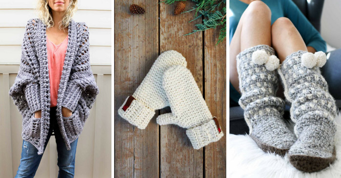 These hygge crochet patterns are modern and cozy. Slippers, mittens and crochet sweater patterns.