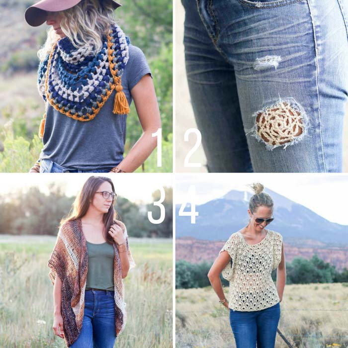 Trendy, modern crochet patterns from Make and Do Crew including the Revival Scarf, the Serenity Vest and the Canyonlands Boho Top.