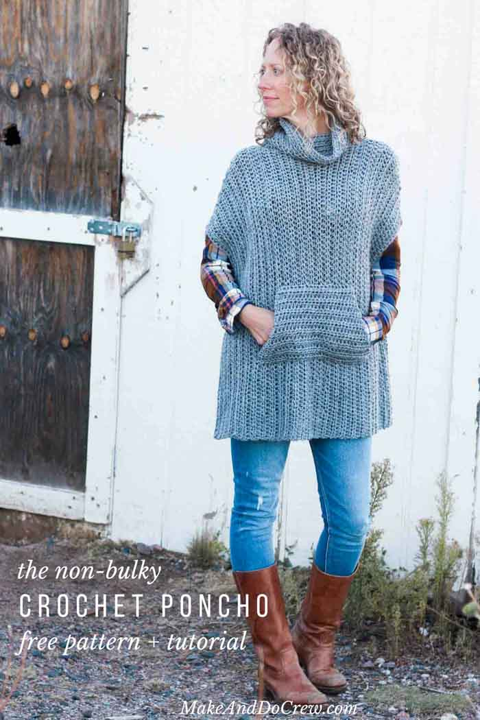 Minimalist Free Crochet Poncho Pattern - Make & Do Crew