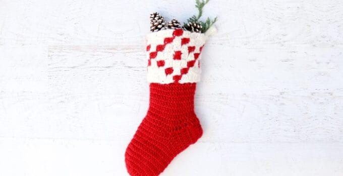 Stockholm Free Crochet Christmas Stocking Pattern