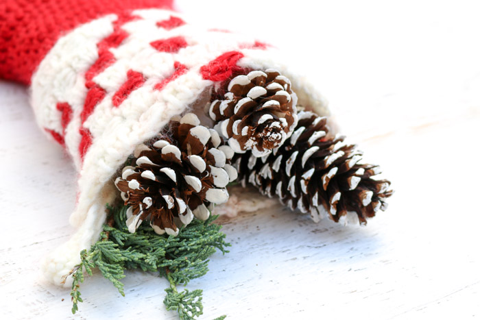Free Christmas crochet patterns. Painted pinecones in crochet Christmas stocking.