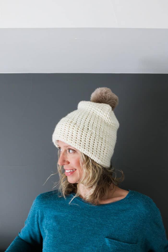 Double Brim Crochet Beanie Free Pattern Looks Knit Make Do Crew