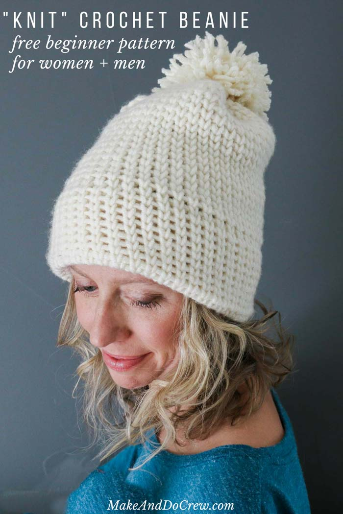 This double-brimmed crochet beanie looks knit, but it's not! This free crochet hat pattern for beginners uses only single crochet stitches to create a modern hat that's a perfect crochet gift idea for men or women. Free pattern by Make & Do Crew featuring Woolspun yarn.