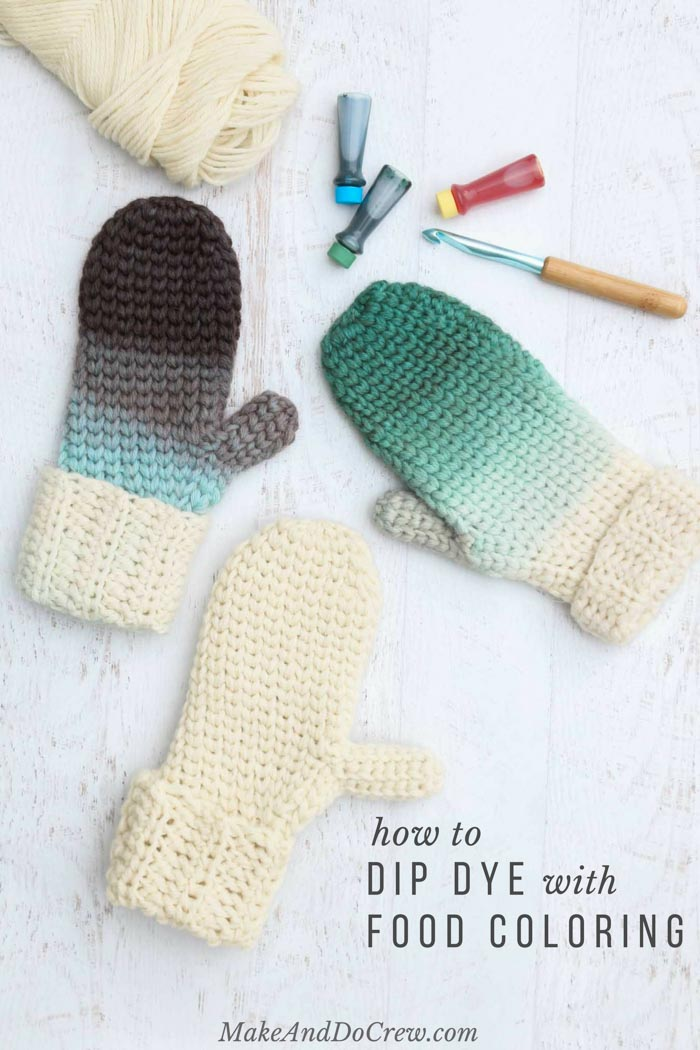 This would be so fun with kids! Creating an ombre effect on any knit or crocheted wool item is easy using just some basic supplies. Learn how to dip dye yarn with food coloring in this fun video tutorial featuring Lion Brand Fishermen's Wool! Such a fun, cheap crochet gift idea!