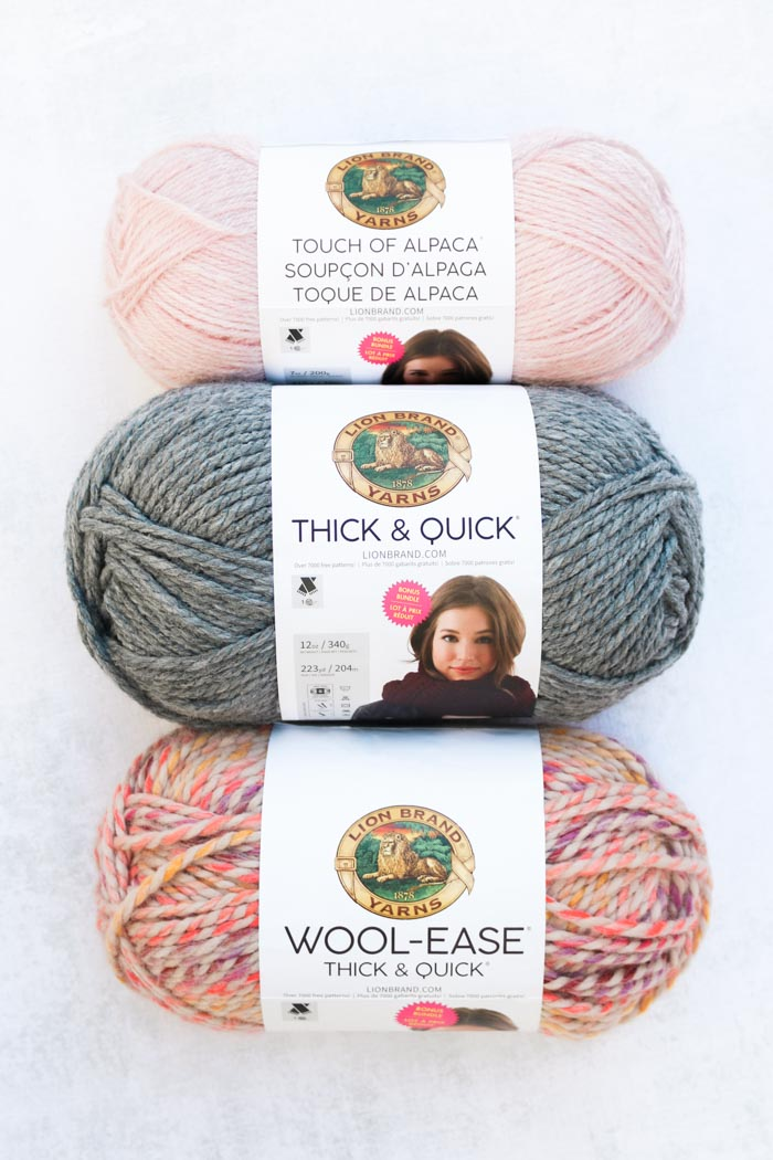 "Lion Brand Touch of Alpaca Bonus Bundle in ""Blush,"" Thick & Quick in ""Grey Oxford"" and Wool-Ease Thick & Quick in ""Spice Market."""